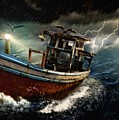Old Fishing Boat In A Storm  L A by Gert J Rheeders