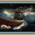 Old Fishing Boat In A Storm L B With Decorative Ornate Printed Frame. by Gert J Rheeders