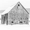 Old Grantham Barns Winter by Edward Fielding