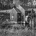 Old Grist Mill In Vermont Black And White by Edward Fielding