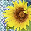 Old Havana Sunflower - Cobalt Blue Tile Painted Over Wood by Audrey Jeanne Roberts
