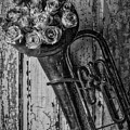 Old Horn And Roses On Door Black And White by Garry Gay