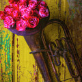 Old Horn And Roses On Door by Garry Gay