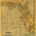 Old Map Of Florida Vintage Circa 1893 On Worn Distressed Parchment by Design Turnpike