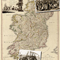 Vintage Map Of Ireland With Old Irish Woodcuts by Karla Beatty