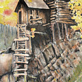 Old Mill In The Rockies by Ann Sokolovich