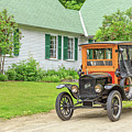 Old Model T Ford In Front Of House by Edward Fielding