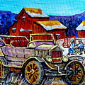 Old Model T Car Red Barns Canadian Winter Landscapes Outdoor Hockey Rink Paintings Carole Spandau by Carole Spandau