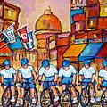 Old Montreal Bike Race Tour De L'ile Canadian Scene Painting Montreal Art Carole Spandau             by Carole Spandau