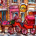 Old Montreal Landmark Painting Gibby's Restaurant Caleche Winter Scene Canadian Art Carole Spandau by Carole Spandau