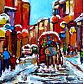 Old Montreal Paintings Quebec Caleche Winter Scenes Canadian Art Carole Spandau                      by Carole Spandau