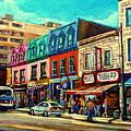 Old Montreal Schwartzs Deli Plateau Montreal City Scenes by Carole Spandau