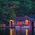 Old Muskoka Boathouse At Night by Les Palenik