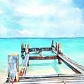 Old Pier On Grace Bay At Club Med     by Carlin Blahnik CarlinArtWatercolor