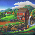 Old Red Appalachian Grist Mill Rural Landscape - Square Format  by Walt Curlee