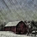 Old Red Barn In Winter by Bill Cannon