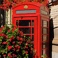 Old Red Telephone Box Or Booth Surrounded By Red Flowers In Toro by Reimar Gaertner