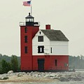 Old Round Island Point Lighthouse Michigan by Anita Hiltz