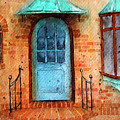 Old Service Station With Blue Door by Rebecca Davis