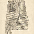 Old Sheet Music Map Of Alabama by Michael Tompsett