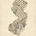 Old Sheet Music Map Of New Jersey by Michael Tompsett