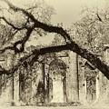 Old Sheldon Church Ruins Bw by Harriet Feagin