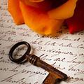 Old Skeleton Key On Letter by Garry Gay