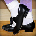 Old Tap Dance Shoes With White Socks And Wooden Floor by Pedro Cardona Llambias