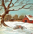 Old Tree And Barn by Kenneth LePoidevin