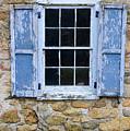 Old Village Window With Blue Shutters by Paul Ward