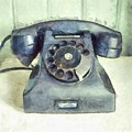 Old Vintage Telephone Square Pencil by Edward Fielding