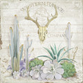 Old West Cactus Garden W Deer Skull N Succulents Over Wood by Audrey Jeanne Roberts
