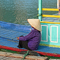 Old Woman On A Colorful River Boat by Bill Bachmann - Printscapes