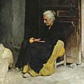 Old Woman Peeling An Orange.  Lunch. Elche Spain by Edward Simmons