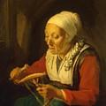 Old Woman Unreeling Threads 1665 by Dou Gerrit