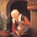 Old Woman Watering Flowers 1665 by Dou Gerrit