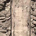 Old Wood Door  And Stone - Vertical Sepia Bw by James BO Insogna