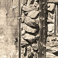 Old Wood Door Window And Stone In Sepia Black And White by James BO  Insogna