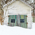 Old Wooden Garage In The Snow Woodstock Vermont by Edward Fielding