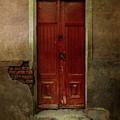 Old Wooden Gate Painted In Red  by Jaroslaw Blaminsky