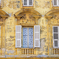 Old Yellow Building With Lace Curtain In Nice, France by Liesl Walsh