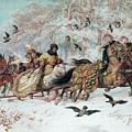 Olenka And Kmicic In A Sleigh, 1885 by Juliusz Fortunat Kossak