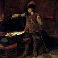 Oliver Cromwell Opening The Coffin Of Charles I  by Hippolyte Delaroche