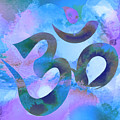 Om Symbol, Light Blue And Purple Pastel by Lita Kelley