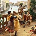 On A Venetian Balcony by Antonio Paoletti