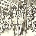 On The A, New York City Subway Drawing by Thor Wickstrom
