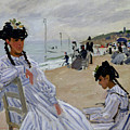 On The Beach At Trouville by Claude Monet