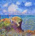 On The Bluff At Pourville - Sur Les Traces De Monet by David Lloyd Glover