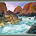 On The Coast Of Cornwall L A With Decorative Ornate Printed Frame. by Gert J Rheeders
