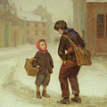 On The Way To School In The Snow by Pierre Edouard Frere